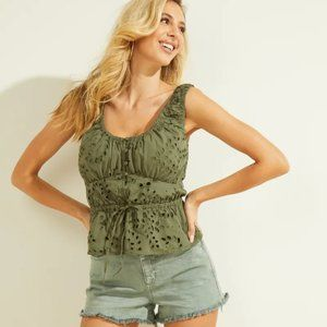 NWT GUESS Larisen Lace Ruched Top size S